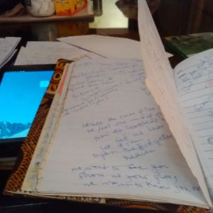 My writing papers stuff on the dining table.